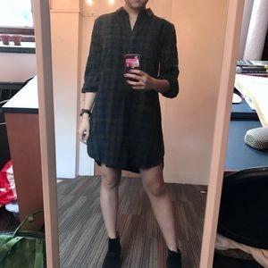Madewell green flannel dress